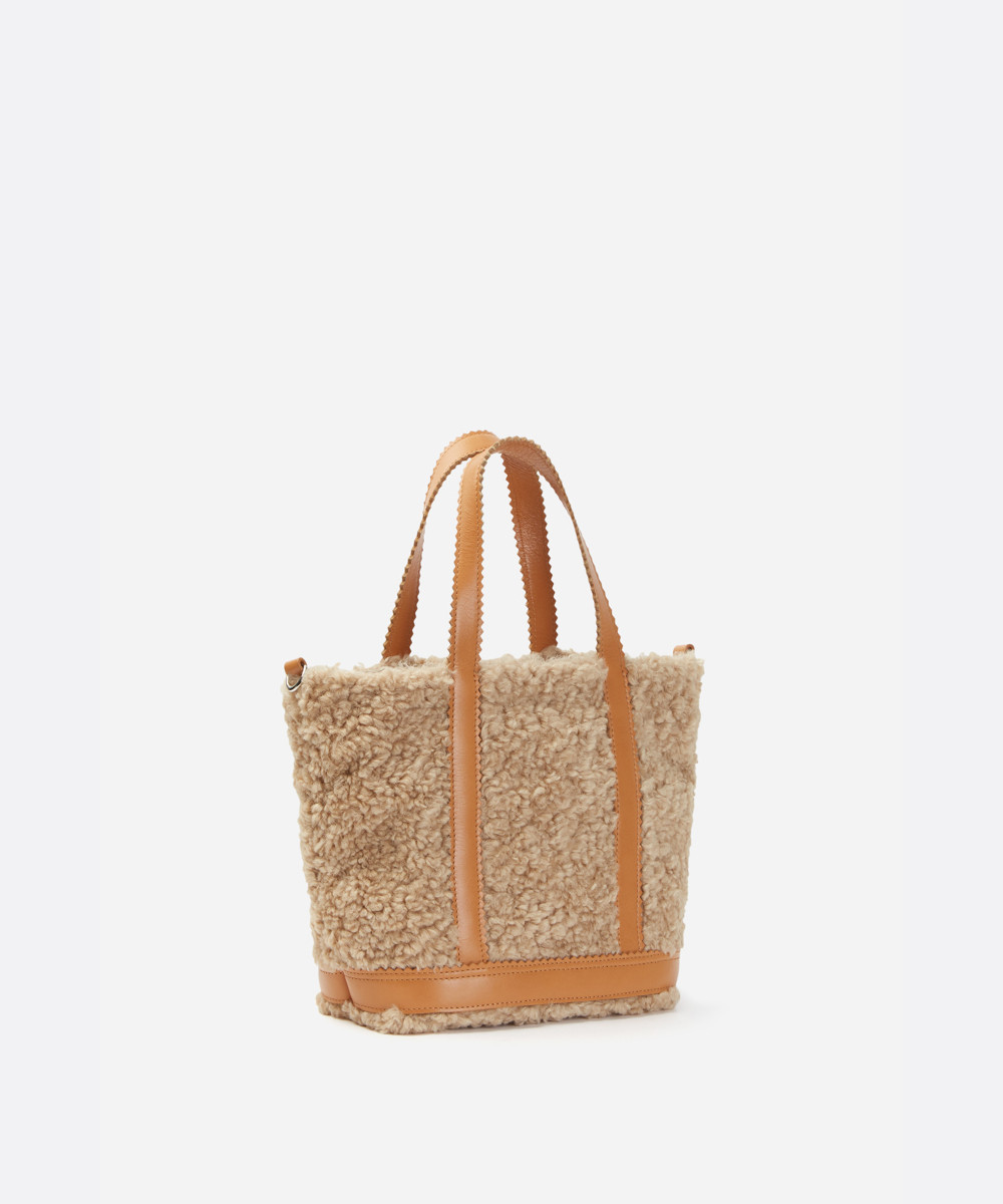 Small Shearling Cabas Tote Bag