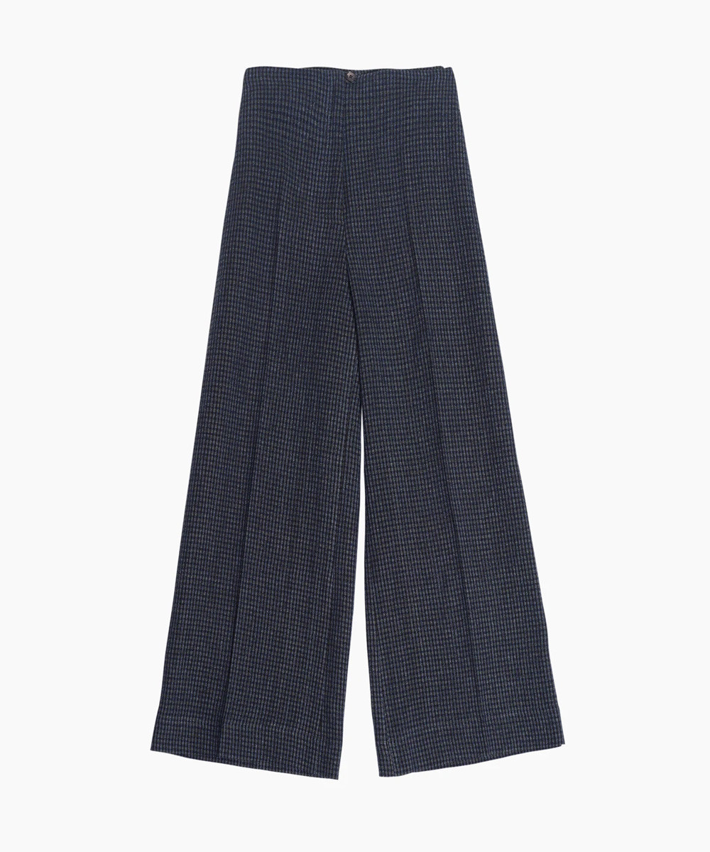 Blue Checked Culotte Trousers